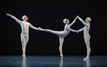 Valeri Hristov, Marianela Nunez and Edward Watson in Monotones II.© Dave Morgan, courtesy the Royal Opera House. (Click image for larger version