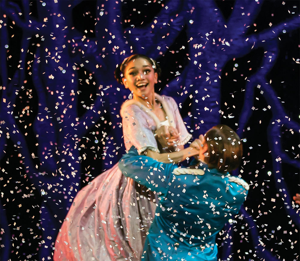 Rachael Gillespie as Clara with Ashley Dixon as the Nutcracker Prince in <I>The Nutcracker</I>.<br />© Emma Kauldhar. (Click image for larger version)