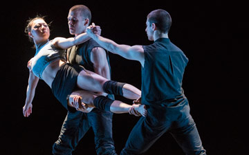 Yu-Hsien Wu, Adam Kirkham and Nathan Young in Broken Fall.© Foteini Christofilopoulou. (Click image for larger version)