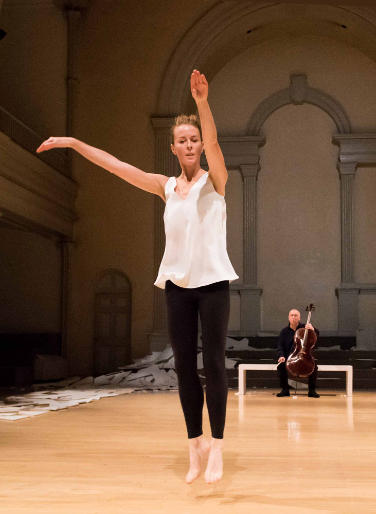 Jean Butler, with cellist Neil Martin, in this is an Irish dance.© Ian Douglas/courtesy Danspace Project. (Click image for larger version)