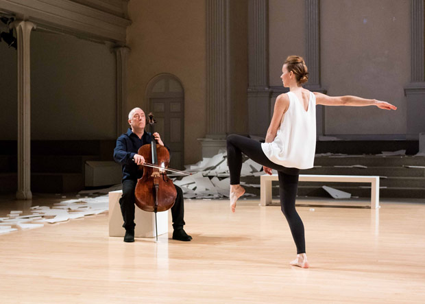 Jean Butler, with cellist Neil Martin, in <I>this is an Irish dance</I>.<br />© Ian Douglas/courtesy Danspace Project. (Click image for larger version)