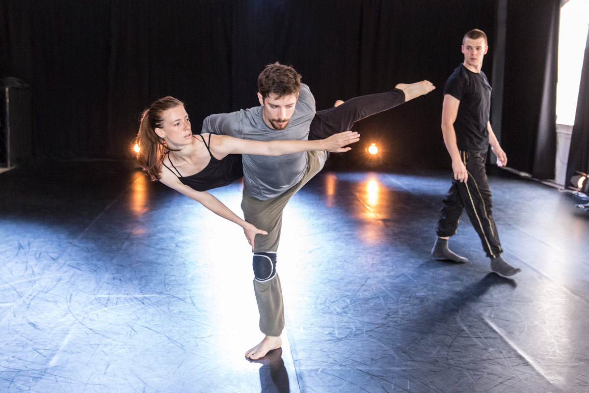 Carys Staton, Nathan Young and Adam Kirkham in the studio.© Johan Persson. (Click image for larger version)