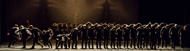 Members of Kidd Pivot and students from NYU Tisch School of the Arts Department of Dance in Crystal Pite's <I>Polaris</I>.<br />© Kevin Yatarola for Lincoln Center. (Click image for larger version)