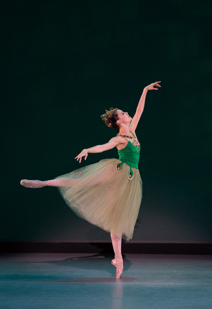 Natalia Magnicaballi in <I>Emeralds</I>, choreography by George Balanchine, © The George Balanchine Trust.<br />© Rosalie O'Connor. (Click image for larger version)