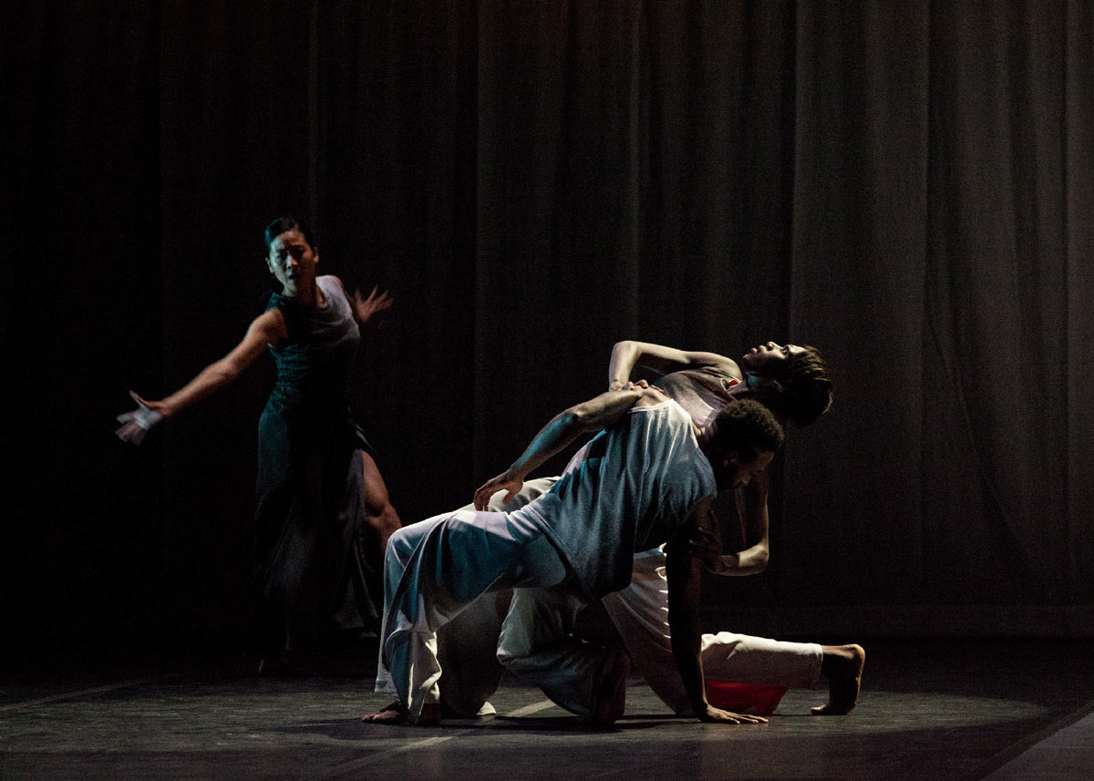 Connie Shiau, Penda N'Diaye and Jeremy Jae Neal in Absent Matter.© Sharon Bradford. (Click image for larger version)
