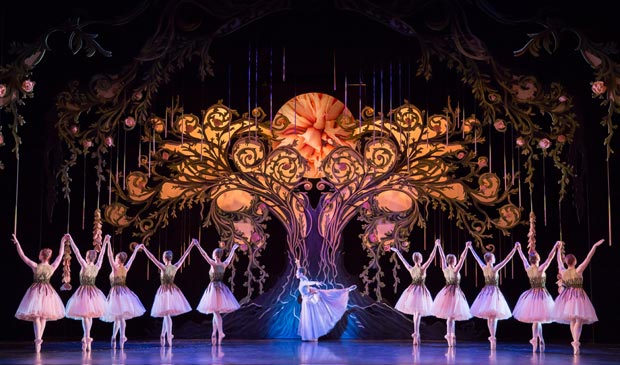 Araminta Wraith as the Godmother with Company members as Roses in <I>Cinderella</I>.<br />© Andy Ross, Scottish Ballet. (Click image for larger version)