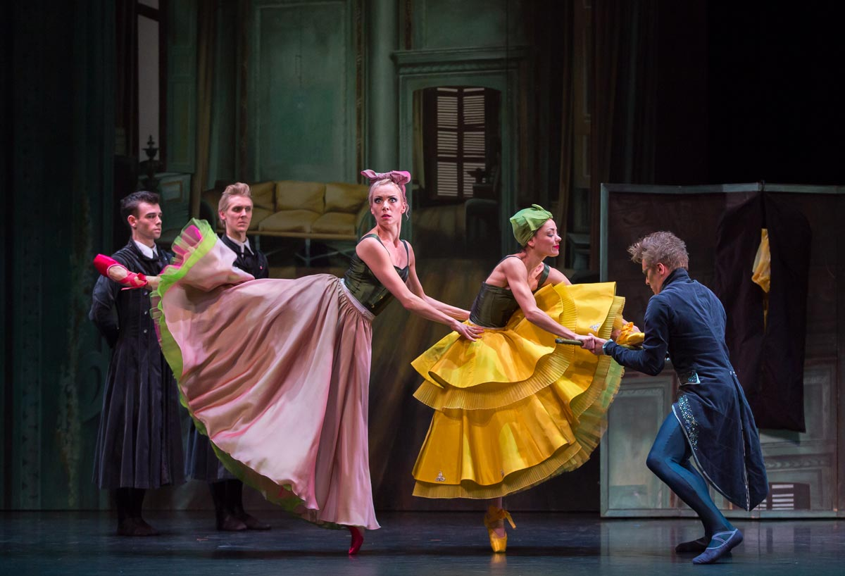 Jamie Reid and Matthew Broadbent as Dressmakers, Eve Mutso as the Tall Stepsister, Sophie Martin as the Short Stepsister and Jamiel Laurence as the Dancing Master in <I>Cinderella</I>.<br />© Andy Ross, Scottish Ballet. (Click image for larger version)