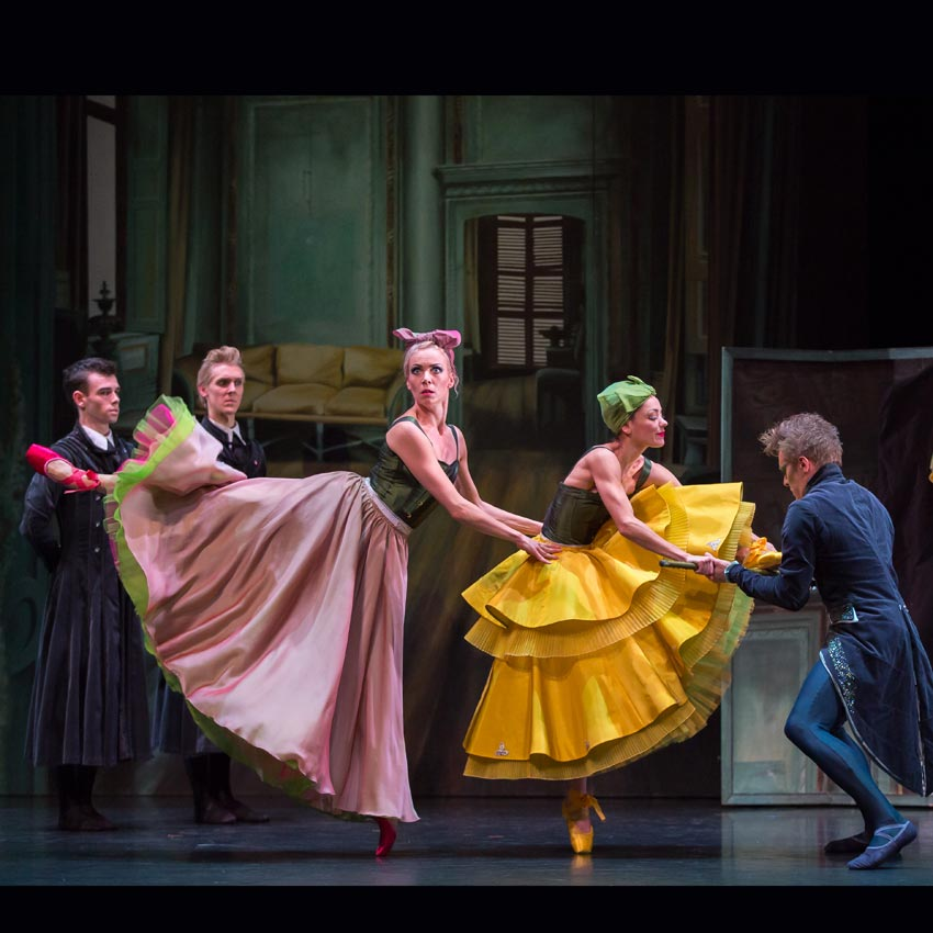 Jamie Reid and Matthew Broadbent as Dressmakers, Eve Mutso as the Tall Stepsister, Sophie Martin as the Short Stepsister and Jamiel Laurence as the Dancing Master in Cinderella.© Andy Ross, Scottish Ballet. (Click image for larger version)