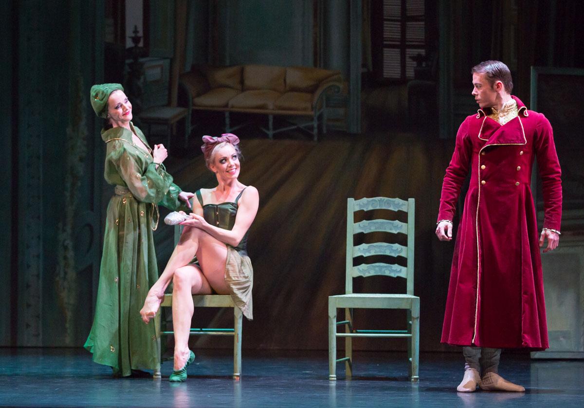 Sophie Laplane, Eve Mutso and Christopher Harrison in <I>Cinderella</I>.<br />© Andy Ross, Scottish Ballet. (Click image for larger version)