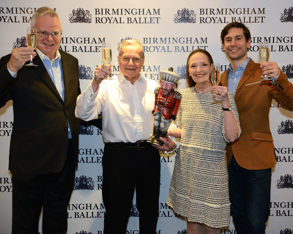 Peter Todd, Sir Peter Wright, Marion Tait and Kit Holder celebrating the BRB <I>Nutcracker</I>'s Silver Anniversary.<br />© Roy Smiljanic. (Click image for larger version)