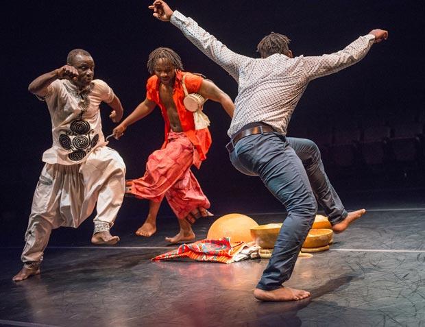Souleymane Badolo, Mamoudou Konate and Sylvestre Koffitse Akakpo-Adzaku in <I>Yimbégré</I>.<br />© Stephanie Berger. (Click image for larger version)