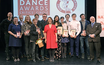 2014 National Dance Awards - The winners: Wayne McGregor, Caroline Miller, Kevin O'Hare, Rosie Kay, Tamara McLorg, Vadim Muntagirov, Matthew Bourne, Arlene Philips, Zizi Strallen, Laura Morera, Matthew Ball, William Bracewell, Ben Duke, Graham Watts.© Dave Morgan. (Click image for larger version)