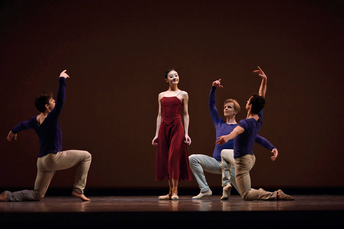 Yuan Yuan Tan with Carlos Quenedit, Tiit Helimets and Vitor Luiz in Bubenícek's <I>Gentle Memories</I>.<br />© Erik Tomasson. (Click image for larger version)