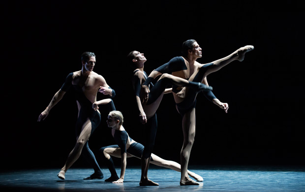 Marc Moreau, Léonore Baulac, Laura Hecquet and Audric Bezard in <I>Alea Sands</I>.<br />© Julien Benhamou / Opéra national de Paris. (Click image for larger version)
