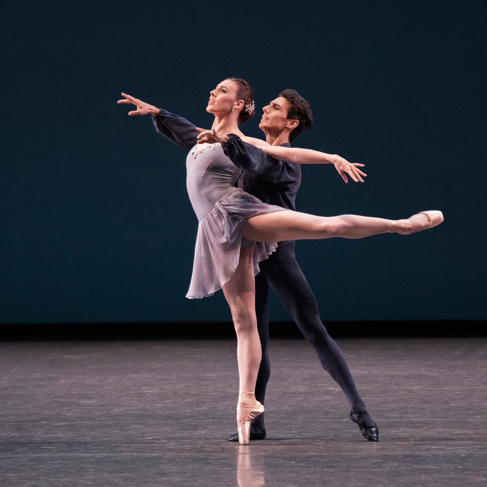 Tiler Peck and Joaquin de Luz in Sonatine.© Paul Kolnik. (Click image for larger version)