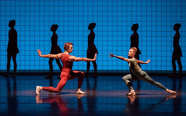 Sara Mearns and Adrian Danchig-Waring in Glass Pieces.© Paul Kolnik. (Click image for larger version)