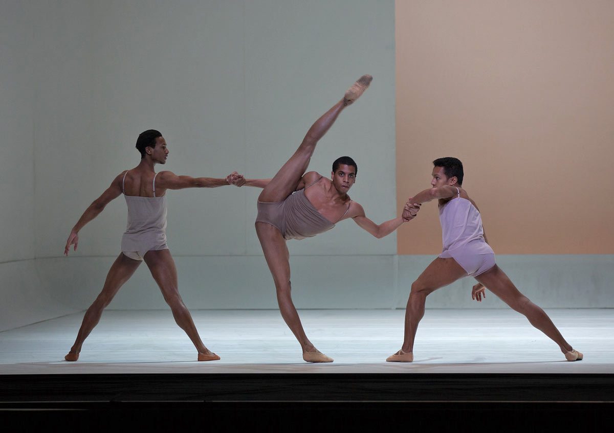 Ricardo Santos, Lawrence Rines and Irlan Silva in Wayne McGregor's Chroma.© Rosalie O'Connor, courtesy of Boston Ballet. (Click image for larger version)