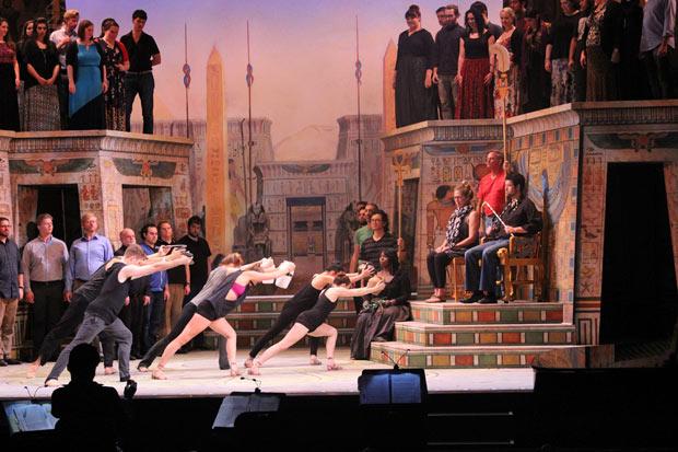 Sarasota Opera rehearsing <I>Aida</I>.<br />© Sam Lowery and Sarasota Opera. (Click image for larger version)
