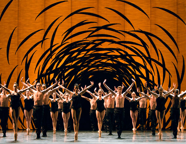 Pacific Northwest Ballet in Crystal Pite's Emergence.© Angela Sterling. (Click image for larger version)