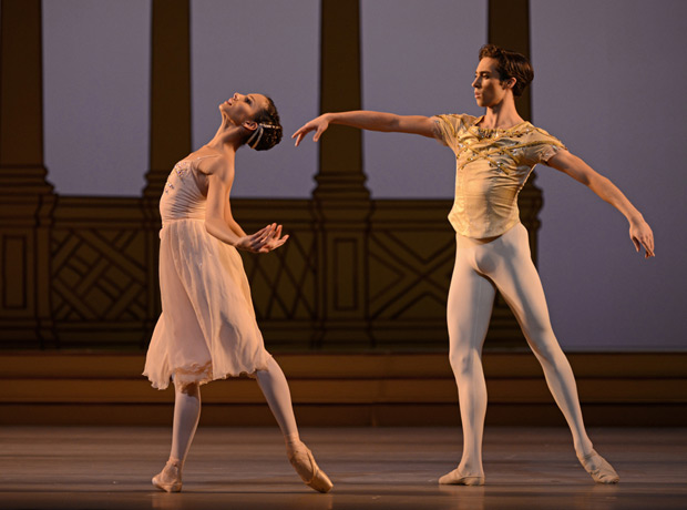 Francesca Hayward and James Hay in <I>Rhapsody</I>.<br />© Dave Morgan, courtesy the Royal Opera House. (Click image for larger version)