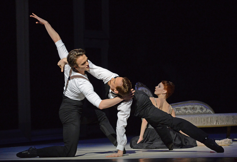 Matthew Ball and Edward Watson, with Natalia Osipova, in <I>Strapless</I>.<br />© Dave Morgan, courtesy the Royal Opera House. (Click image for larger version)