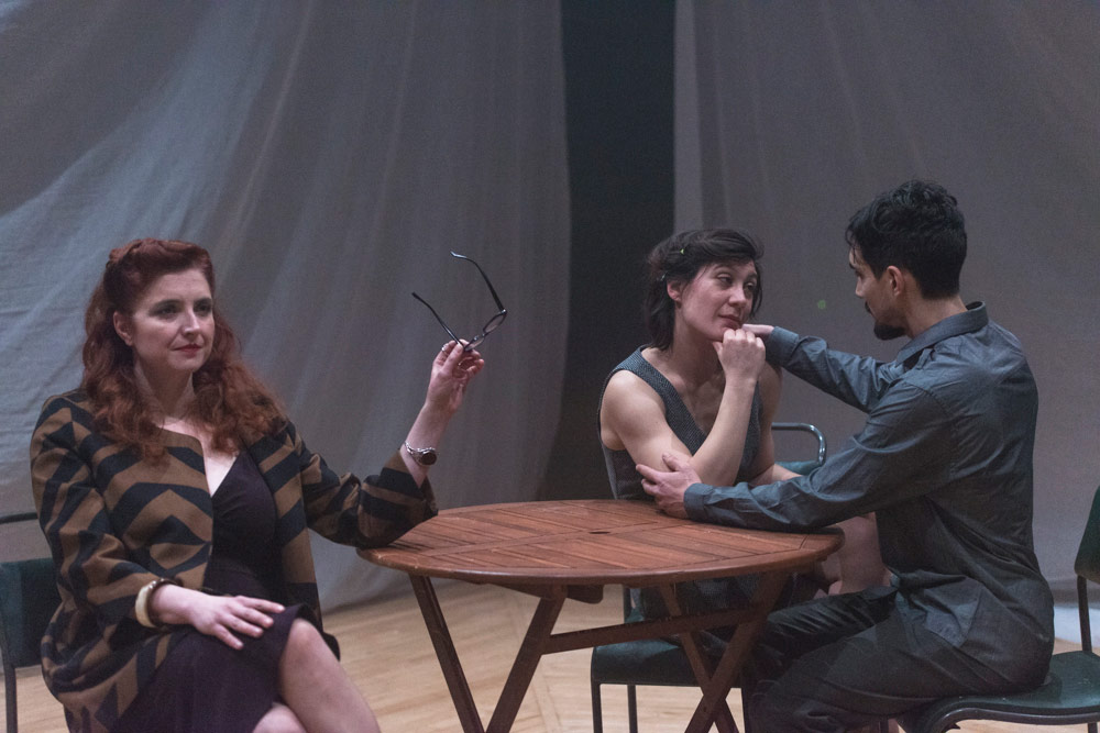 Ottillie Parfitt, Anne-Gaëlle Thiriot and Marc Stevenson in <I>Quests</I>.<br />© Foteini Christofilopoulou. (Click image for larger version)
