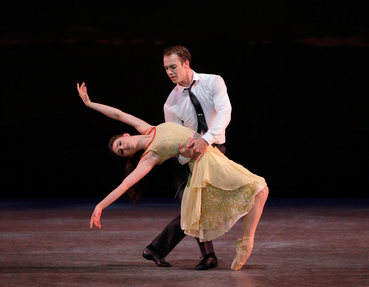 Tiler Peck and Tyler Angle in Christopher Wheeldon's <I>Estancia</I>.<br />© Paul Kolnik. (Click image for larger version)