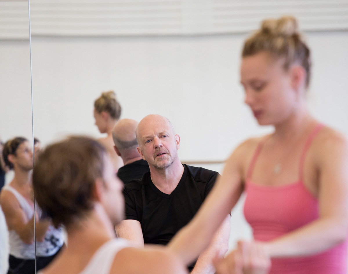 Kim Brandstrup at NYCB <I>Jeux</I> rehearsals with Sara Mearns and Adrian Danchig-Waring.<br />© Paul Kolnik. (Click image for larger version)