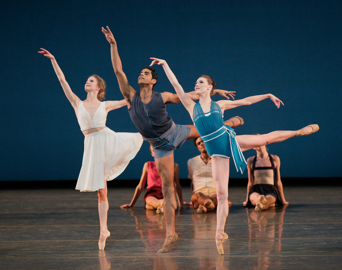 Sterling Hyltin, Amar Ramasar and Tiler Peck in Justin Peck's <I>Paz de la Jolla</I>.<br />© Paul Kolnik. (Click image for larger version)