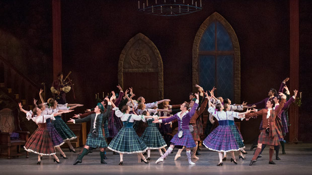 New York City Ballet in the Scottish Reel section of <I>La Sylphide</I>.<br />© Paul Kolnik. (Click image for larger version)
