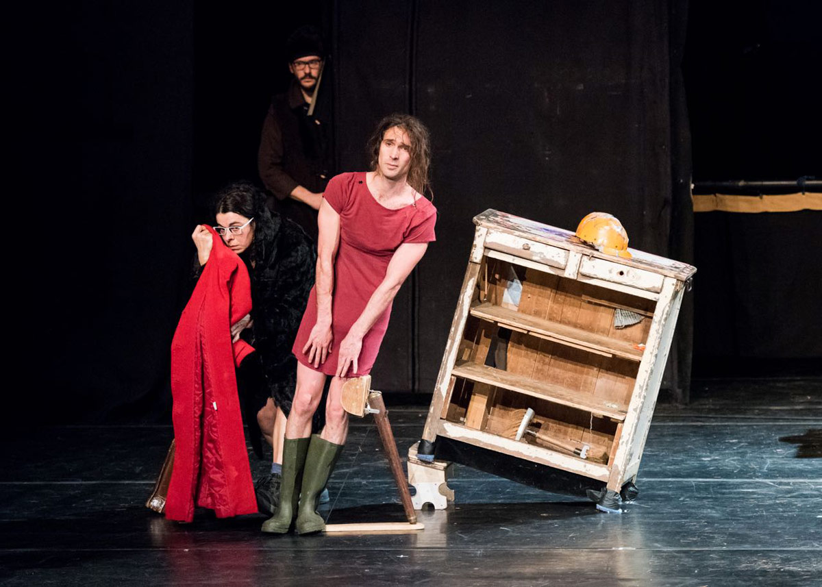 Marion Lefebvre, Camille Boitel (in dress) and Michael Philis (behind) in L'Immédiat.© Ian Douglas. (Click image for larger version)