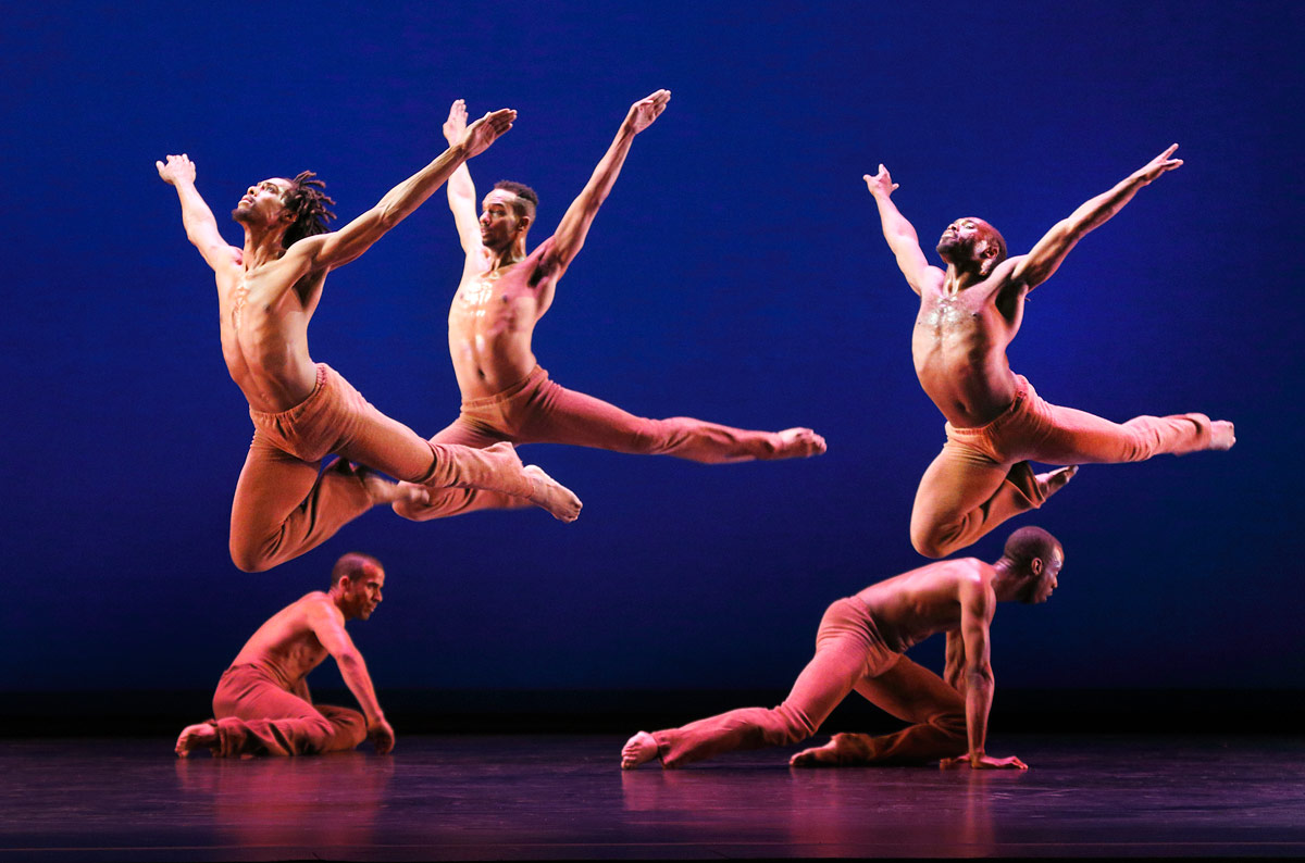 Dayton Contemporary Dance Company in Donald McKayle's <I>Rainbow 'Round my Shoulder</I>.<br />© Paul B. Goode. (Click image for larger version)