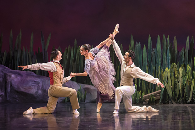 Giuliano Contadini as Simon, Martha Leebolt as Odilia and Javier Torres as Anthony in <I>Swan Lake</I>.<br />© Emma Kauldhar. (Click image for larger version)