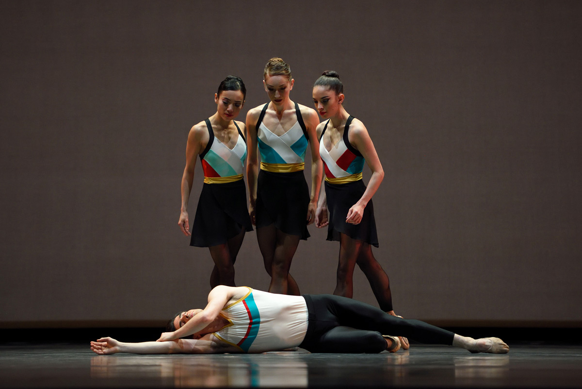 Frances Chung, Jennifer Stahl, Dores André and Joseph Walsh in Justin Peck's <I>In The Countenance Of Kings</I>.<br />© Erik Tomasson. (Click image for larger version)