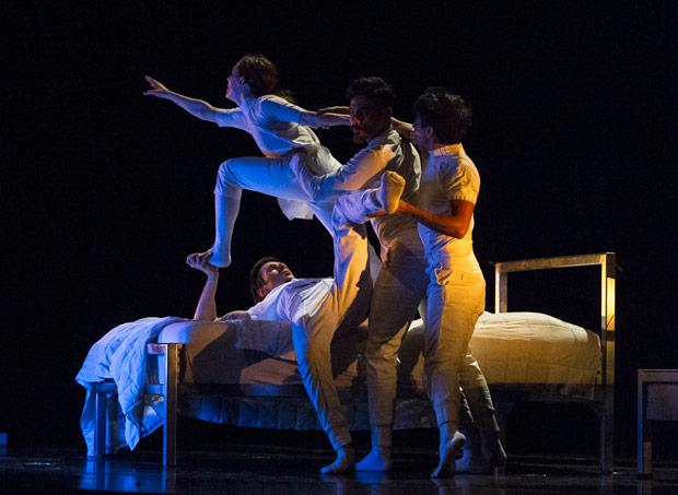 Alvaro Fitinho, Anne Plamondon, Franklin Luy and Nicolas Montes de Oca in <I>Nocturnes</I> by Marcos Morau.<br />© Foteini Christofilopoulou. (Click image for larger version)