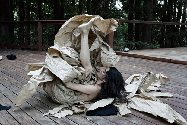 Janine Antoni in collaboration with Anna Halprin, <I>Paper Dance</I>, 2013. Photographed by Pak Han at the Halprin Dance Deck. Courtesy of the artists and The Fabric Workshop and Museum, Philadelphia. (Click image for larger version)