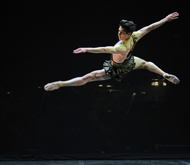 Cesar Corrales in <I>Diana & Acteon</I>. On the 17 May 2016, at the London Palladium, Cesar Corrales won the 2016 Emerging Dancer Award. He also won the People's Choice Award (voted for by audience members).<br />© Dave Morgan. (Click image for larger version)