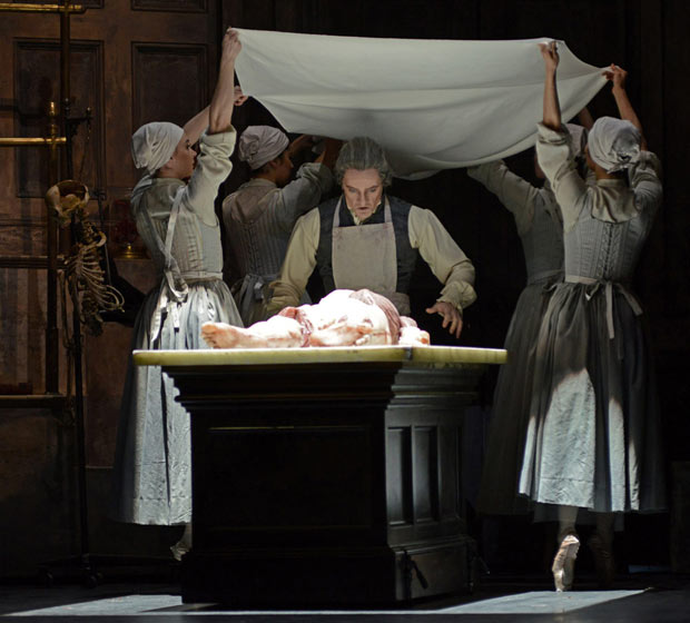 Thomas Whitehead in Liam Scarlett's <I>Frankenstein</I>.<br />© Dave Morgan, courtesy the Royal Opera House. (Click image for larger version)