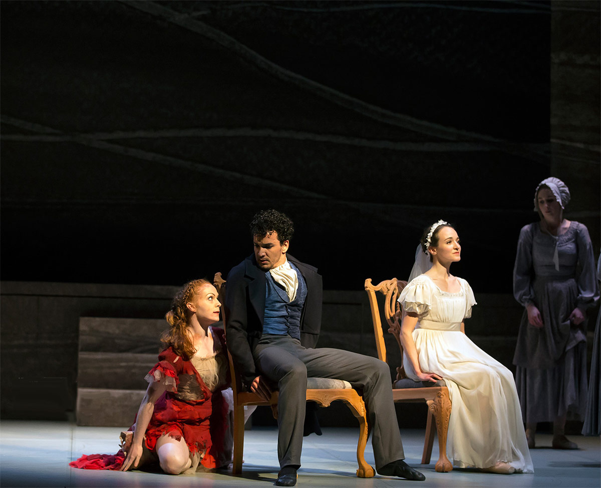 Victoria Sibson (Bertha), Javier Torres (Rochester) and Dreda Blow (Jane) in Cathy Marston's Jane Eyre.© Emma Kauldhar. (Click image for larger version)