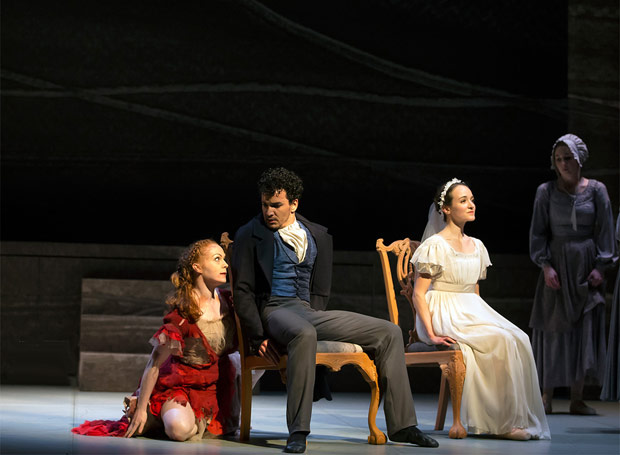Victoria Sibson (Bertha), Javier Torres (Rochester) and Dreda Blow (Jane) in Cathy Marston's <I>Jane Eyre</I>.<br />© Emma Kauldhar. (Click image for larger version)