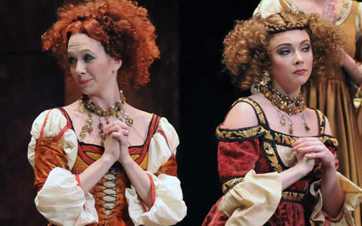 Sian Murphy and Claire Calvert as Harlots in <I>Romeo and Juliet</I>. It's just been announced that Sian is leaving the company. Claire is being promoted to First Soloist.<br />© Dave Morgan, courtesy the Royal Opera House. (Click image for larger version)
