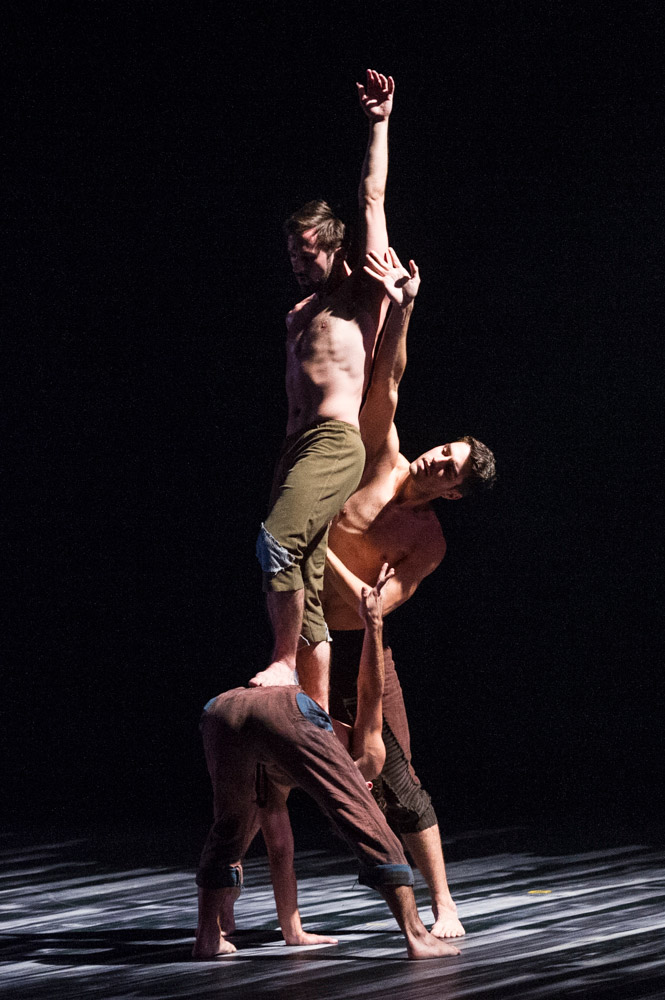 Aaron Carr, Morgan Lugo and Robbie Moore in Sidi Larbi Cherkaoui's Harbor Me.© Foteini Christofilopoulou. (Click image for larger version)