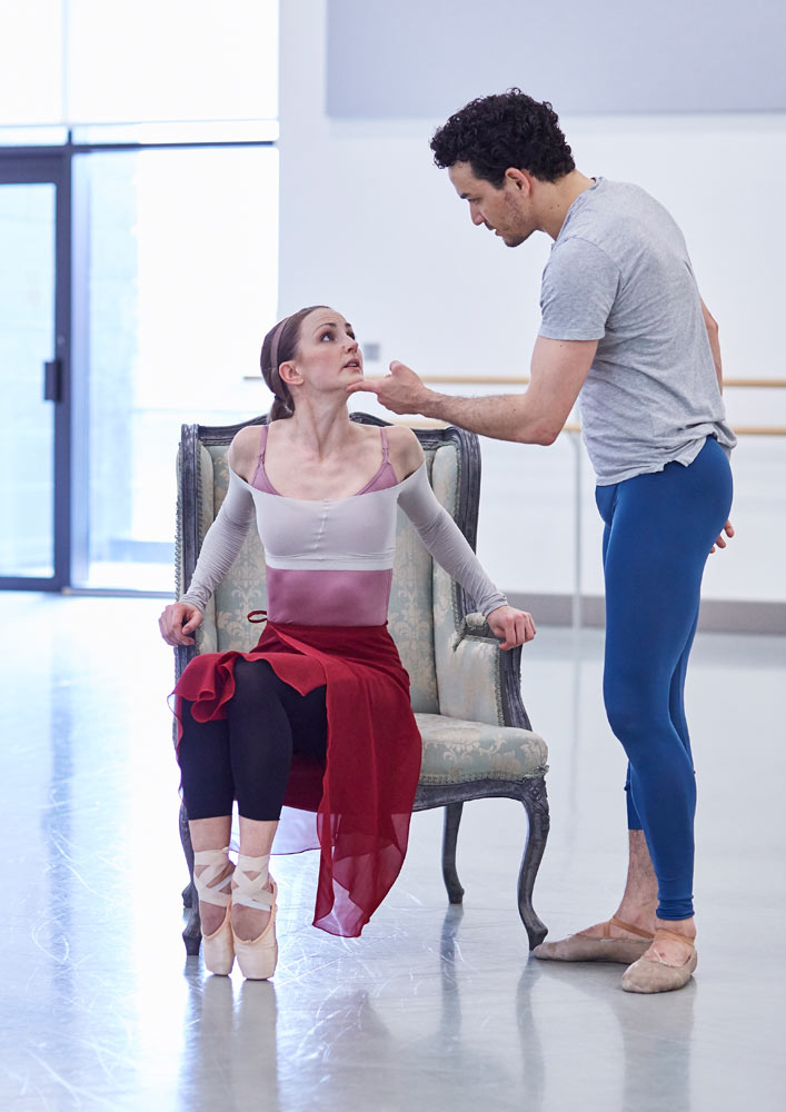 Hannah Bateman as Jane and Javier Torres as Mr Rochester in rehearsal for Jane Eyre.© Justin Slee. (Click image for larger version)