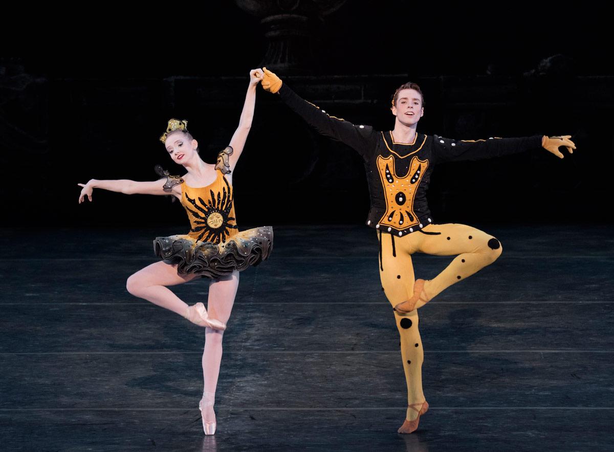 Emma Von Enck and Thomas Davidoff in Danses Concertantes, choreography by George Balanchine © The George Balanchine Trust.© Paul Kolnik. (Click image for larger version)