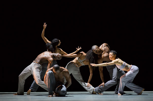 Alvin Ailey American Dance Theater in Abraham's <I>Untitled America: Second Movement</I>.<br />© Paul Kolnik. (Click image for larger version)