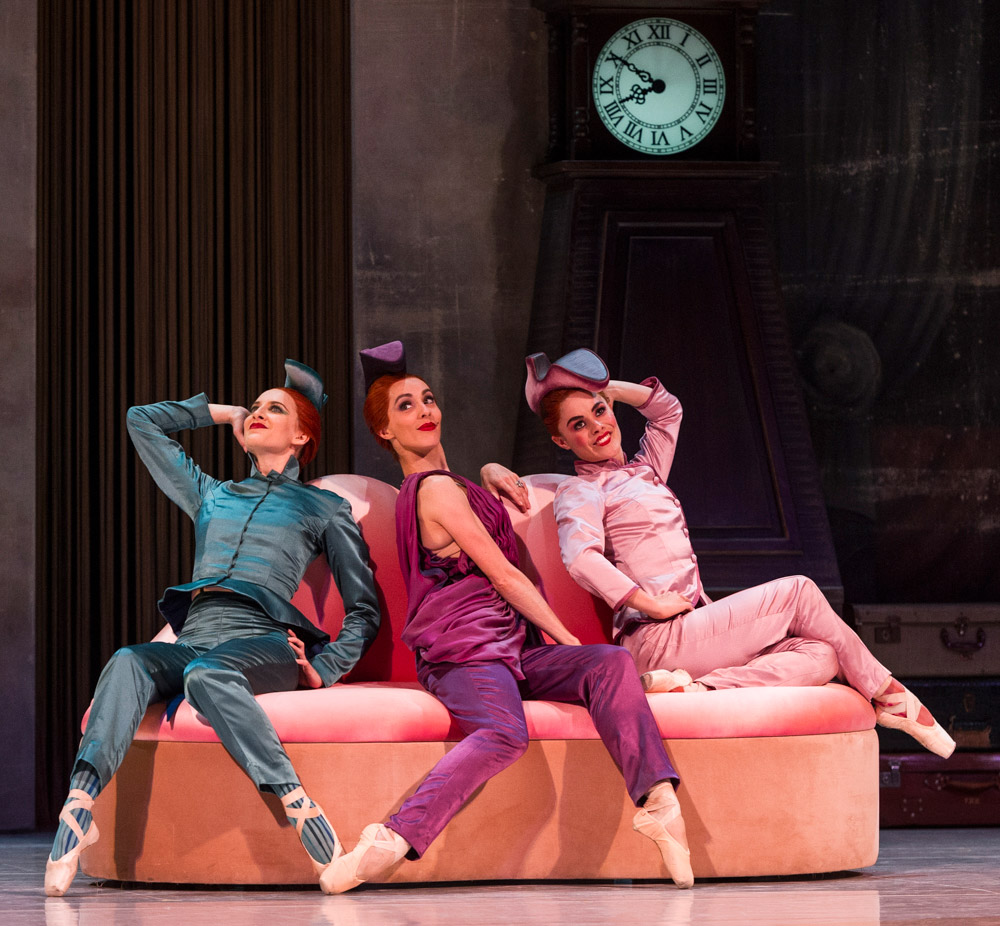 Ingrid Gow, Amy Harris and Eloise Fryer in Alexei Ratmansky's <I>Cinderella</I>.<br />© Foteini Christofilopoulou. (Click image for larger version)