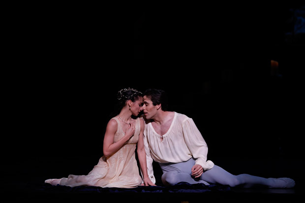 Karina Gonzalez and Connor Walsh in <I>Romeo and Juliet</I>.<br />© Jeff Busby. (Click image for larger version)