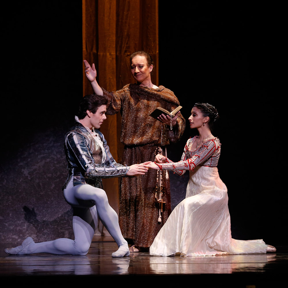 Connor Walsh, Steven Woodgate and Karina Gonzalez in Romeo and Juliet.© Jeff Busby. (Click image for larger version)