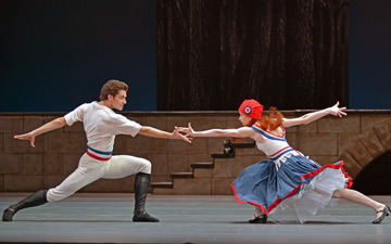 Igor Tsvirko and Ekaterina Krysanova in Flames of Paris.© Dave Morgan. (Click image for larger version)