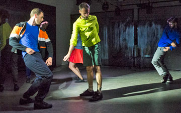 Jonathan Goddard, Patricia Okenwa, Clemmie Sveaas, Alexander Whitley and Joe Walkling in Collapse - a period drama.© Foteini Christofilopoulou. (Click image for larger version)